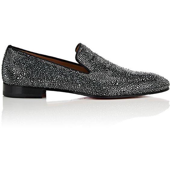 Christian Louboutin Dandelion Strass Flat Suede Venetian Loafers -$3,795