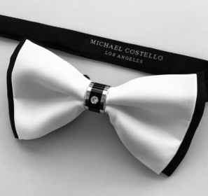 The Palazzo Silver Diamond Bow tie (Paris collection) by Michael Costello